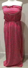 bnwt NEXT SUMMER MAXI DRESS UK 16 PINK CREAM STRIPES BANDEAU SOFT COTTON PULL ON