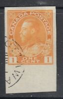 "Canada ""Ottawa"" Cancel Scott #136  1 cent yellow  ""KGV Admiral Imperforate""  VF"