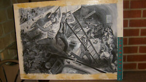EARL NOREM PAINTING: mens magazine illustration: EARTHQUAKE OR WHATEVER!