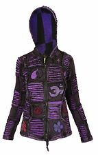 Cotton Stonewashed Hippie Gothic Emo Funky Patchwork Om Pixie Hood Jacket Hoodie