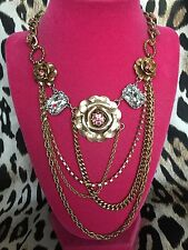 Betsey Johnson Gold Rose Flower Pink Crystal LARGE Jewel Layered Chain Necklace