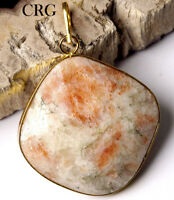 Gold Plated Faceted Square Sunstone Pendant (FC9DG)