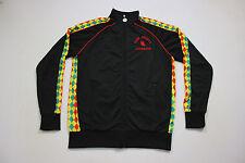 Sz M FLOW SOCIETY LACROSSE Spellout Warm Up Full Zip Rasta Argyle Black Jacket