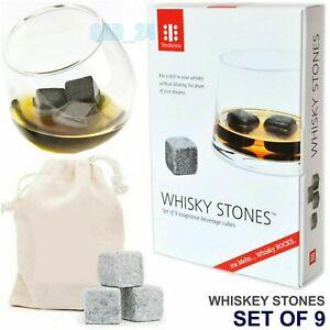 Teroforma Whisky Stones Gift Set 9 Reusable Soapstone Ice Cube Scotch Drink Rock