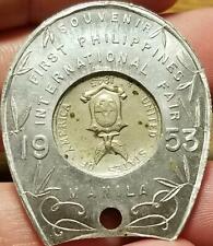 Good Luck Token Encased 5 Centavos Coin 1953 Manila Philippines Fair Souvenir