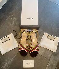 Gucci BNIB Authentic Sold Out Sylvie Web Leather Sandals EU 37 UK 4 RRP £450
