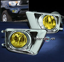 2012-2015 TOYOTA TACOMA BUMPER YELLOW FOG LIGHT+BULB+CHROME COVER+HARNESS+SWITCH