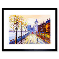 London Cityscape Painting Framed Wall Art Print 12X16 In