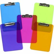 6pk Plastic Clipboard Transparent Color Letter Size Low Profile Clip Office