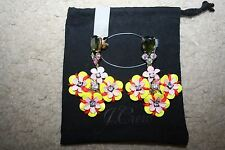 J.CREW FUN FLORAL AND CRYSTAL EARRINGS F2855