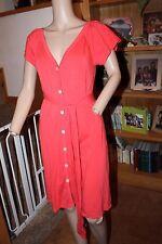 VICTORIA SECRET BUTTON UP V NECK ORANGE SHIRT DRESS WITH TIE M NWOT