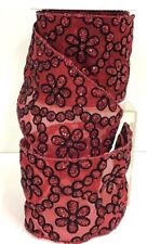 """Sheer Wired Ribbon~Red, Black Glitter Flowers~4"""" W x 10 Yds."""