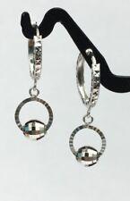 18k Solid White Gold Cute Hoop Ball Dangle Earrings Diamond Cut Design.