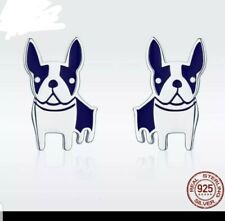 Sweet Boston Terrier sterling silver 925 earrings jewelry Free Ship Brand New