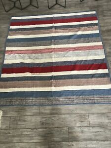 """Vintage Striped Quilt 88"""" x 82"""" Patchwork Design Multicolor Red White and Blue"""