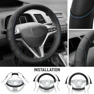 Soft & Smooth PU Leather Steering Wheel Cover for Honda Civic 2007-2012 - Blue