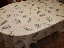 "Cotton Blend TABLECLOTH Leaf & Floral Design 84"" x 60"" Rectangle Shape"