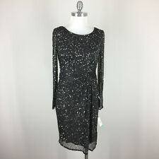 New Patra M 8 10 Gray Silver Sequin dress Formal Evening Cocktail 3/4 sleeve