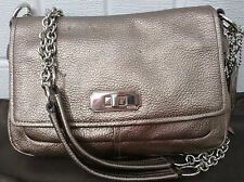 Coach Chelsea Metallic Gunmetal Leather Chain Flap Shoulder Bag 17808 tote purse