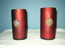 2 Red Mercury Glass Candle Holders w/ Candles