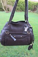 L.CREDI Dark Brown  Leather Two Strap Tote/Shoulder Bag ~ New