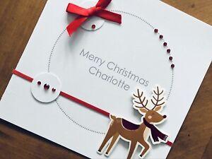 """Personalised Handmade Christmas Cards - Reindeer 6"""" X 6"""""""