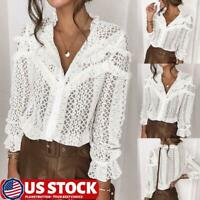 Womens Hollow Lace Casual Button Down Shirt Ruffle Frill Tops Long Sleeve Blouse