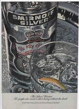 1973 print ad SMIRNOFF SILVER VODKA + Smokehouse Almonds on the reverse.