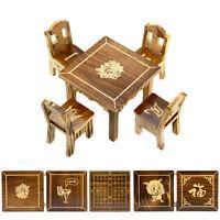 NEU 1:12 Puppenhaus Miniatur Möbel Tisch + 4 Stühle Esszimmer Miniatur Hölz X3N9