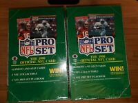 Lot of 2 1990 Pro Set NFL Football Cards Series 1 Wax Pack Box Factory Sealed