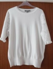 BNWOT Oasis Ivory jumper with Lace effect short sleeves Size L (UK 14-16)