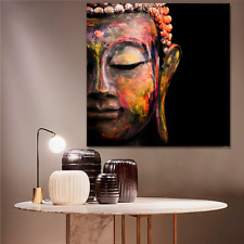 BUDDHA ART PRINT ON STRETCHED CANVAS PRINTS FRAMED PAINTING COLOURFUL WALL RED