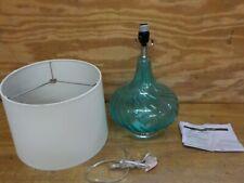 Elegant Designs LT3214-BLU Glass Fabric Shade Table Lamp, Light Blue