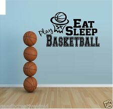 Eat Sleep Play Basketball Vinyl Wall Decal Kids room sports wall decor