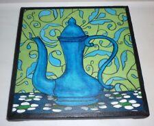 "Tea Coffee Pot Kitchen 8"" X 8"" Canvas Acrylic Small Miniature Food & Wine"