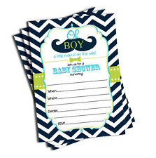 50 Mustache Oh Boy! Baby Shower Invitations (5x7)
