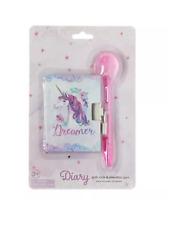 unicorn diary and marabou Pompom pen , gift party stocking filler