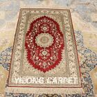 YILONG 2.5'x4' Red Handknotted Silk Carpet Antistatic Home Decor Area Rug H012A
