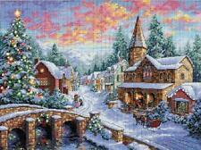 Aldea de vacaciones (pueblo cubierto de nieve) Cross Stitch Kit-Dimensiones
