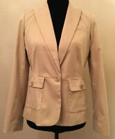 Talbots Womens Blazer Petite Size 4P  Beige Long Sleeve V Neck Curvy Fit Jacket
