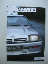 Opel Manta incl. GSi  prestige brochure Prospekt Dutch text 22 pages 1984