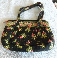 Slightly Use Black w Pink Bows & White Flowers Vera Bradley Purse Hand Bag