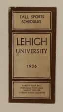 Antique 1936 Lehigh University Football Pocket Schedule Early 1930's Engineers