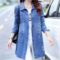 Women Fashion Long Sleeve Denim Jacket Long Jean Coat Outwear Overcoat Plus Size