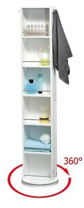 Evideco Swivel Storage Cabinet Organizer Freestanding Linen Tower Mirror