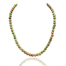 AWESOME STUNNING 242.00 CTS NATURAL UNTREATED BLOOD GREEN UNAKITE BEADS NECKLACE