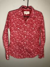"""True Religion Women's Red & White Floral Button Down Long/S """"Lone Star"""" Shirt S"""