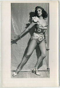 Original vintage 1950s showgirl, dancer in fishnets by Georges Henri, stamped