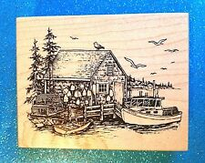 PSX K-2893 Boat House/Lobster Shack ~ XRARE ~ NEW! ~ Wood Rubber Stamp  1999 HTF