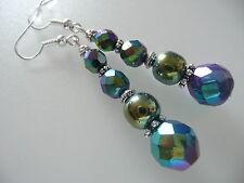 Vintage Art Deco Carnival Glass & Crystal Green Hematite Long Earrings